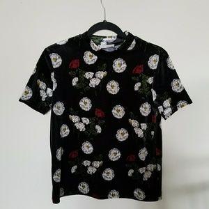 NWT Zara Velvet Floral Top